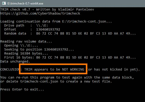 проверка и настройка trim ssd - выключено - скриншот 6