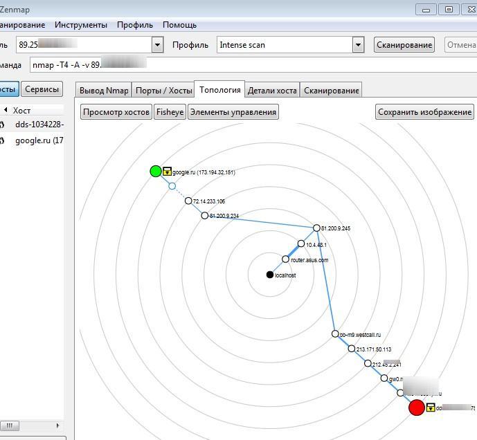 топология сети через nmap