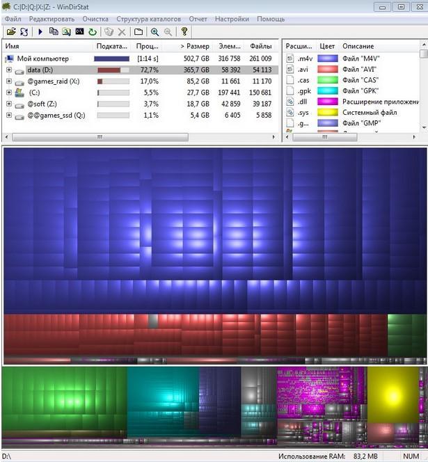 отображение размеров файлов и папок WinDirStat - поиск места
