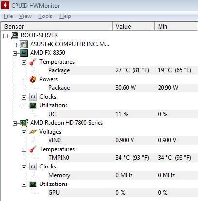 температуры AMD 8350 в простое