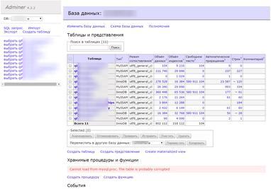 Adminer - редактирование баз данных