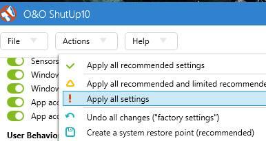 o&o shutup10 - применение всех настроек - как ускорить компьютер - скриншот 25