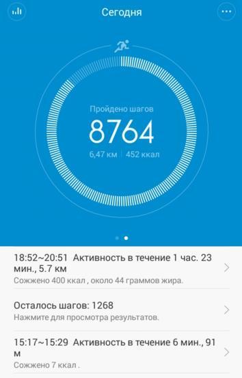 замер активности с фитнес браслетом Xiaomi Mi Band 1S Pulse