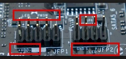 подключение разъема передней панели, используем лупу, подписи на плате