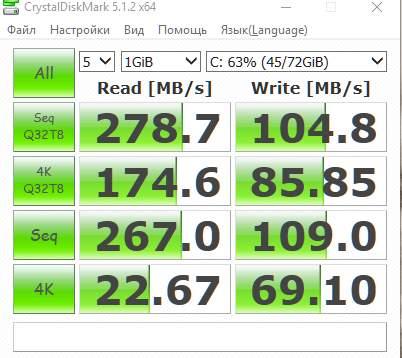 результаты измерения скорости диска в CrystalDiskMark