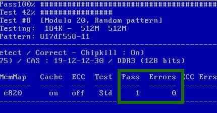 количество ошибок и проверок оперативной памяти