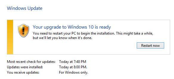 как остановить обновление до Windows 10