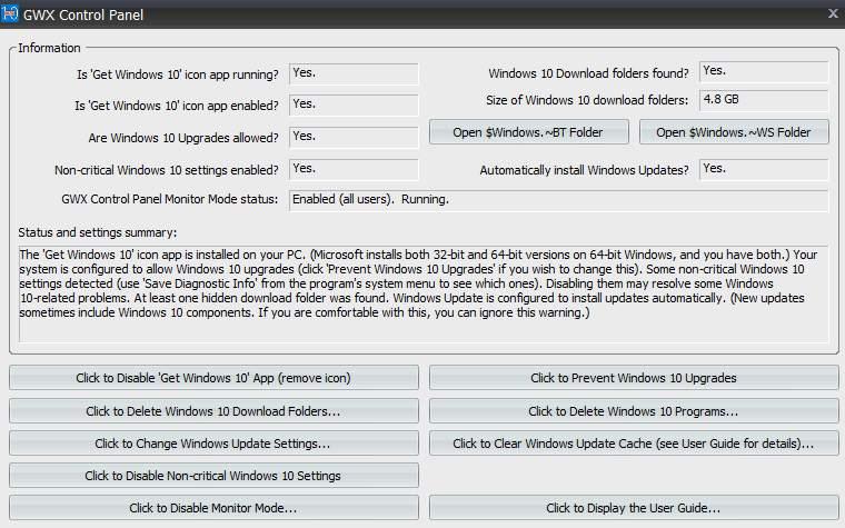 GWX Control Panel - избавляемся от обновления до Windows 10
