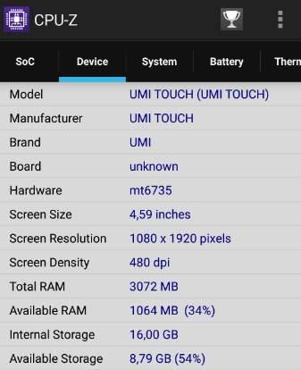 данные CPU-Z по памяти- обзор UMI TOUCH 4G Phablet - скриншот 6