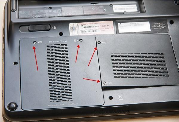 как разобрать ноутбук, скриншот 6, снимаем жесткий диск и оперативную память
