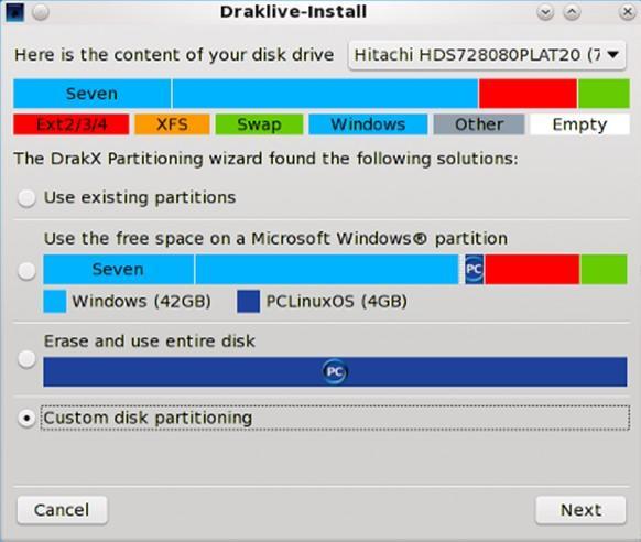 Выбор области установки диска