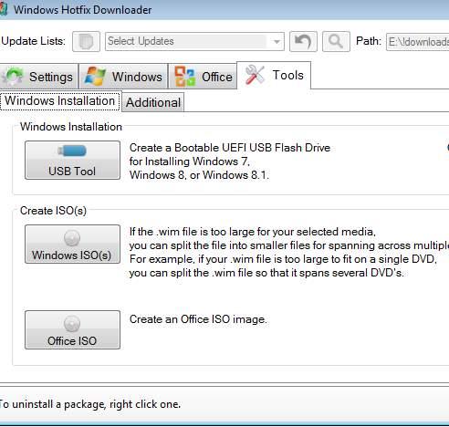 Windows Hotfix Downloader - дополнительные инструменты программы