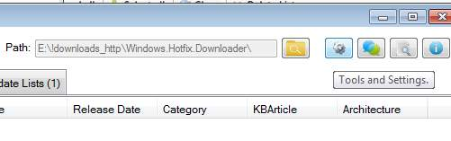 Tools and Settings - настройка Windows Hotfix Downloader