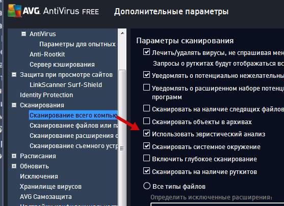 опции сканирования антивирусом AVG - включение эвристического анализа