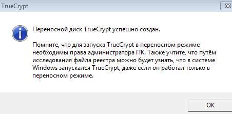 truecrypt - уведомление