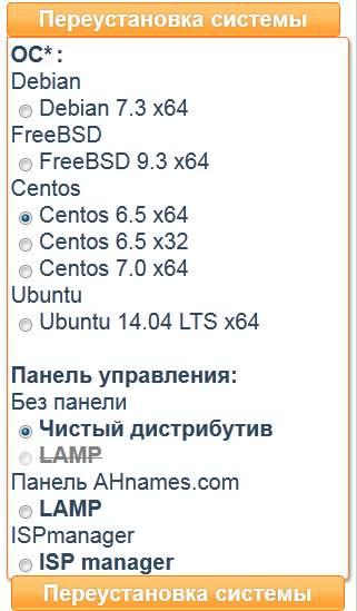 выбор панелей на хостинге ahnames