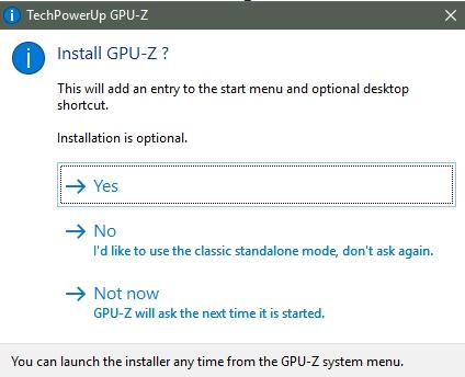 GPU-Z - вопрос при установке