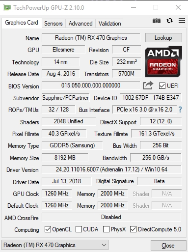 GPU-Z - главное окно программы