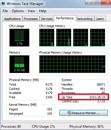 Как получить uptime в Windows с помощью диспетчера задач - скриншот 1