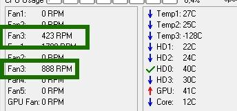 программа speedfan - использование - скриншот 7 - температура и скорость кулеров