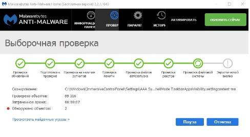 Malwarebytes Anti-Malware - как удалить вирус - spyware - скриншот 11 - выборочная проверка - найденные угрозы
