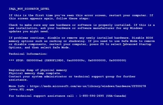 синий экран смерти - как выглядит обычно - скриншот 1