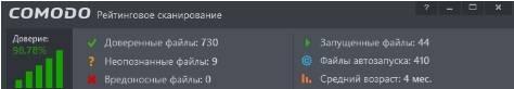 Comodo Firewall - использование - скриншот 10 - результаты сканирования