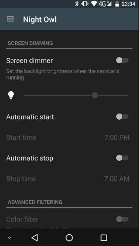 снижаем яркость экрана Android - night owl - скриншот 1 - главное окно