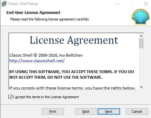 """настройки меню """"Пуск"""" в Windows 7/8 или 10 - программа Classic Shell - скриншот 8 - лицензия"""