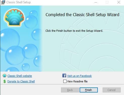 """настройки меню """"Пуск"""" в Windows 7/8 или 10 - программа Classic Shell - скриншот 9 - конец установки"""