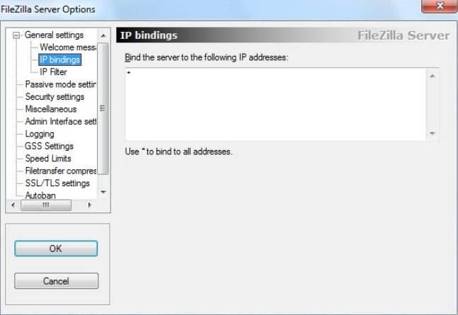 установка и настройка FTP FileZilla Server - скриншот 9 - вкладка IP bindings