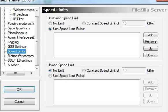 запуск и настройка FTP FileZilla Server - скриншот 15 - вкладка Speed Limits