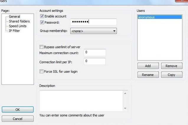 FTP FileZilla Server - скриншот 19 - задаем пароли пользователям