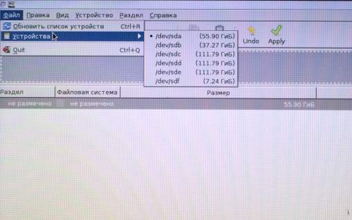 разбить диск на разделы GParted - скриншот 15