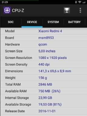 CPU-Z Redmi 4 Prime - скриншот 2
