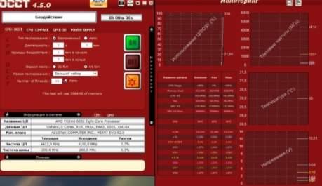 тест стабильности компьютера - программа OCCT - скриншот 1