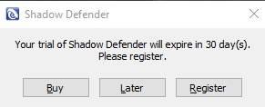 обзор Shadow Defender - защита компьютера - запуск - скриншот 1