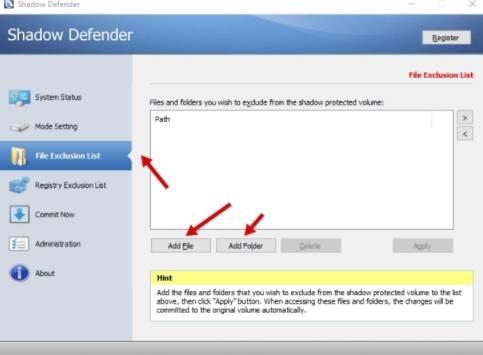 обзор Shadow Defender - защита компьютера - использование - скриншот 2