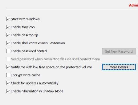 обзор Shadow Defender - защита компьютера - настройка - скриншот 5