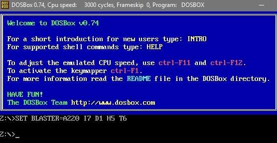 главное окно программы DOSBox