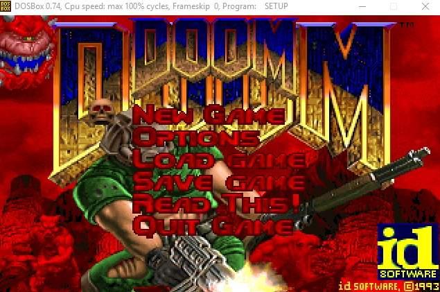 запущенная под DOSBox игра Doom
