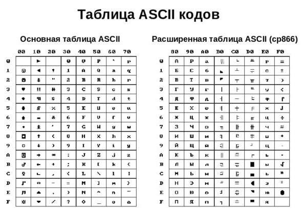 Что можно сказать о таблице символов ascii