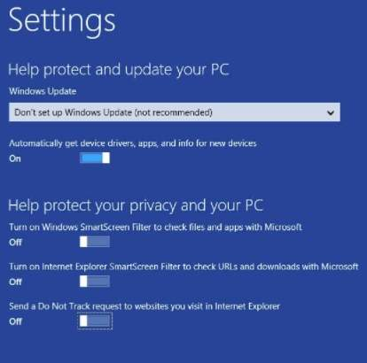 Как установить Windows 8 - скриншот 14 - настройка защиты и безопасности