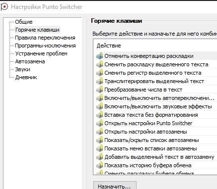 Punto Switcher - горячие клавиши - скриншот 6
