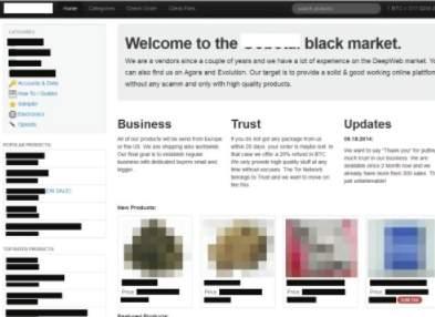 скриншот одного из сайтов из даркнета