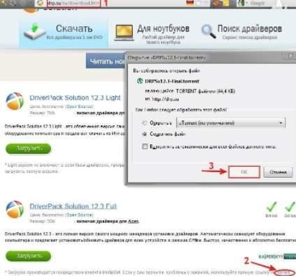 загрузка DriverPack Solution - скриншот 2 - варианты