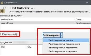 IObit Unlocker - разблокировка и принудительное удаление/перемещение/копирование папки или программы - скриншот 4