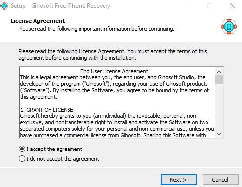 Восстановление данных с Вашего смартфона - iPhone Gihosoft Data Recovery - установка скриншот 1