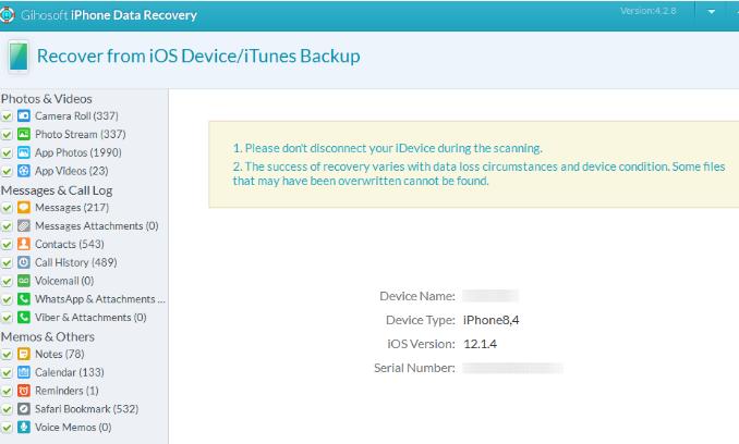 Восстановление данных с Вашего смартфона - iPhone Gihosoft Data Recovery - использование - скриншот 5