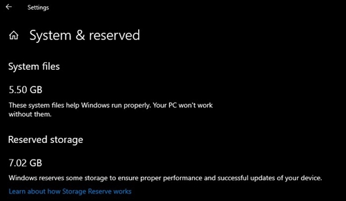 Как отключить «зарезервированное хранилище» в Windows 10 1903 и старше - скриншот 1